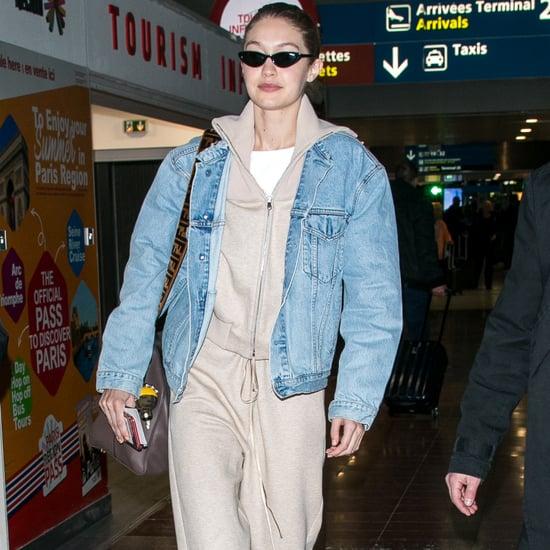 Gigi Hadid Wearing Tan Stuart Weitzman Shoes at the Airport