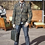 Come Fall, we've decided we need a plaid blazer like his to transform our denim and oxfords to the perfect borrowed-from-the-school-yard classics. 8391633  Source: Phil Oh