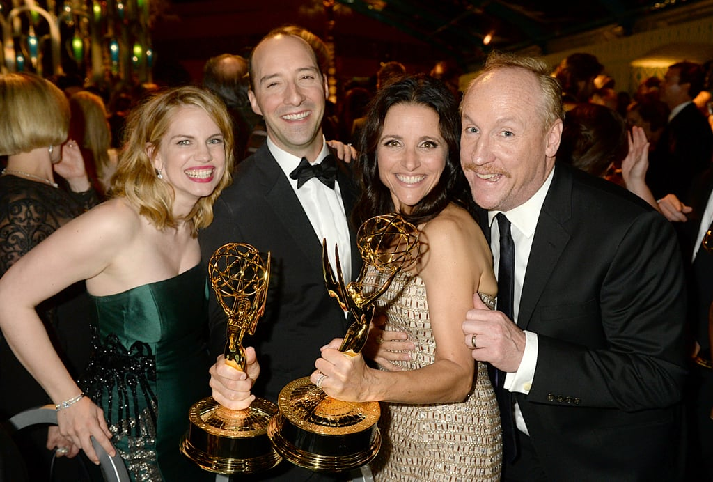 Anna Chlumsky, Tony Hale, Julia Louis-Dreyfus and Matt Walsh posed for photos at the 2013 HBO Emmys after party.