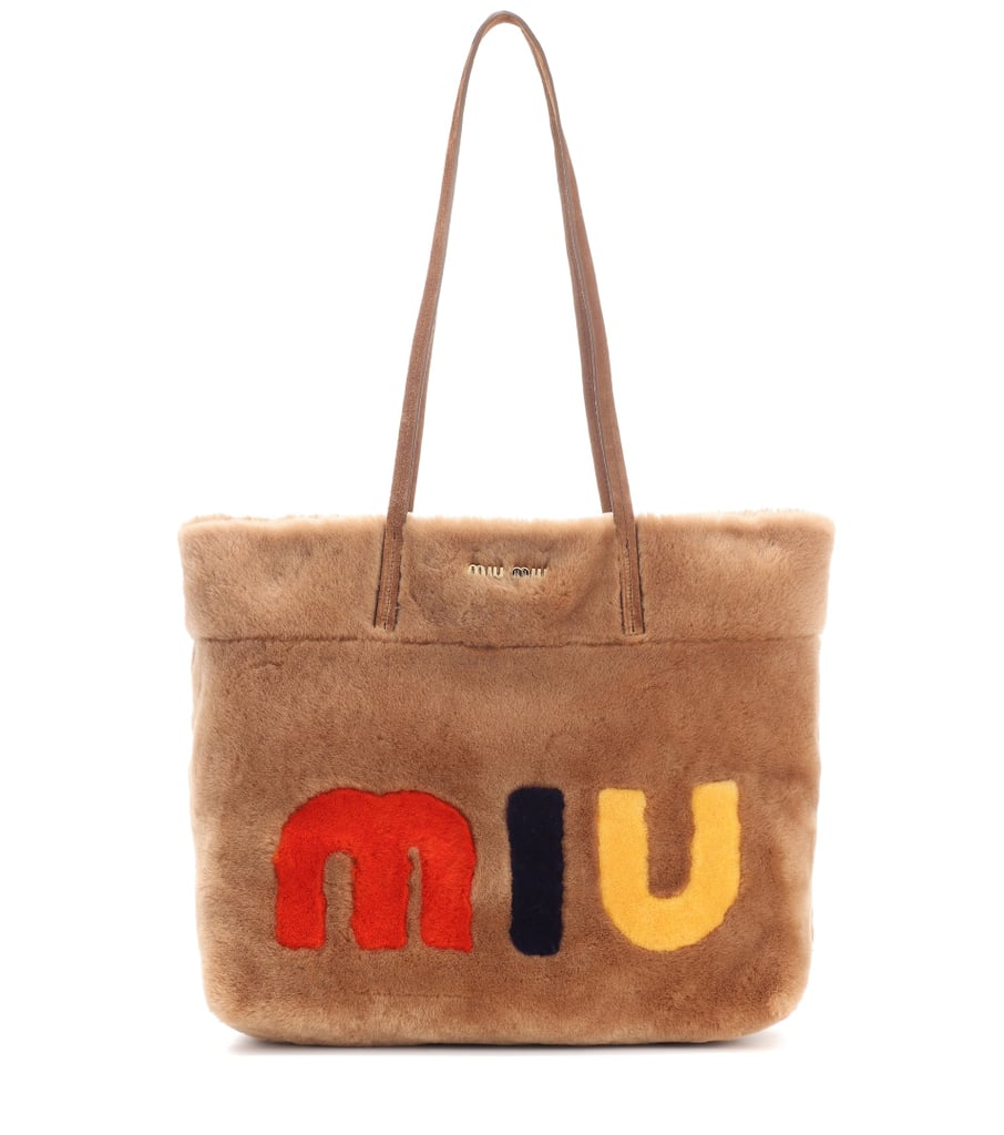 Suede-trimmed fur shopper Miu Miu