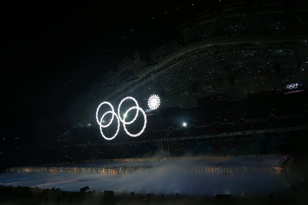 One of the snowflakes didn't exactly turn into an Olympic ring as planned.