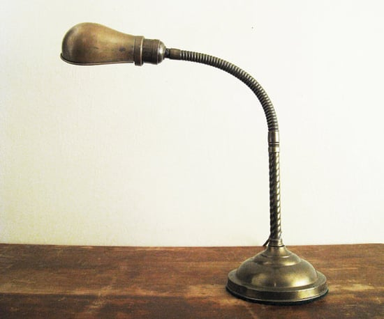 Vintage Brass Gooseneck Desk Lamp, $54
