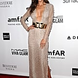 Alessandra Ambrosio showed skin at the bash.