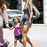 Halle Berry and daughter Nahla Aubry holding hands.