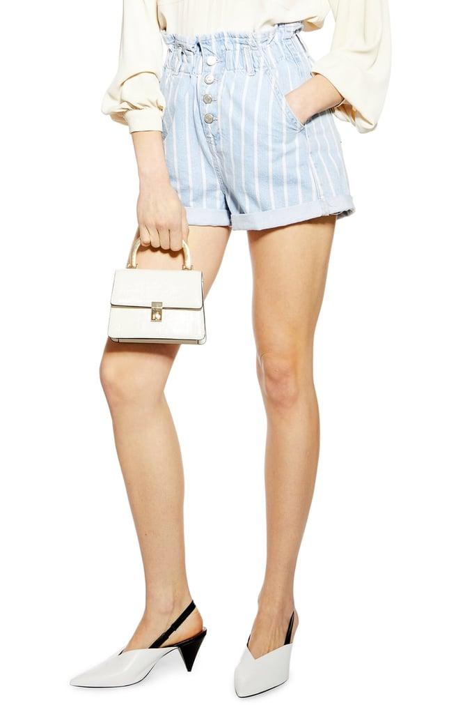 Topshop Stripe Denim Paperbag Waist Shorts