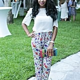 We're all about her mix of florals, bold hues, and sleek footwear. Source: David X Prutting/BFAnyc.com