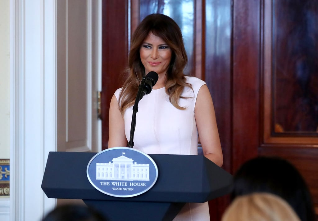 Melania Trump's White Midi Dress