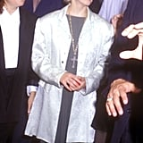 Wearing a large blazer in 1989.