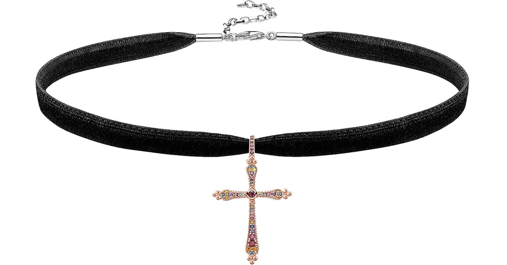 Thomas Sabo 18k Rose Gold Plated Sterling Silver Royalty Cross Choker