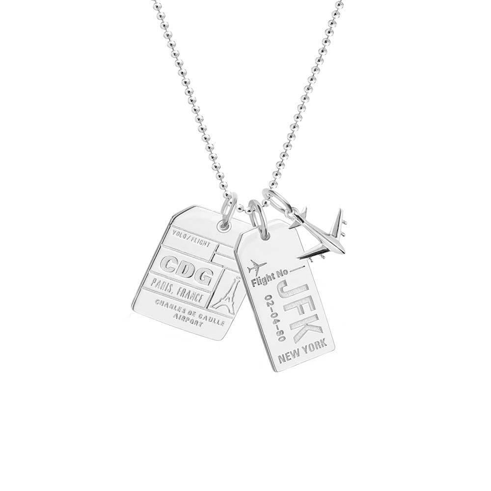 """Jet Set Candy 18"""" Silver Luggage Tag Charm Necklace"""