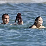 Marion Cotillard swims topless in the South of France.