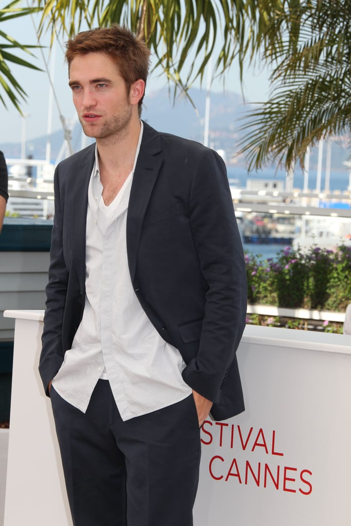 Robert Pattinson had his hands in his pockets at the Cosmopolis photocall in Cannes.
