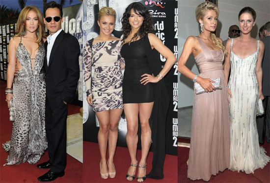 Pictures of Jennifer Lopez, Marc Anthony, and Paris Hilton at the 2010 World Music Awards 2010-05-18 17:00:00