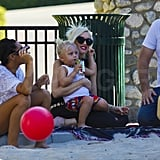 Zuma Rossdale sipped on a juice box.