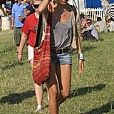 She tapped into her boho roots for the Glastonbury Festival in June 2010.