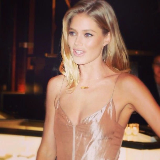 At the Tiffany bash, Doutzen Kroes's metallic Calvin Klein design could rival the sparkliest of jewels. Source: Instagram user doutzen