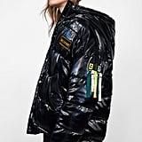 Zara Faux Vinyl Puffer Jacket