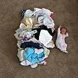 Baby vs. laundry.