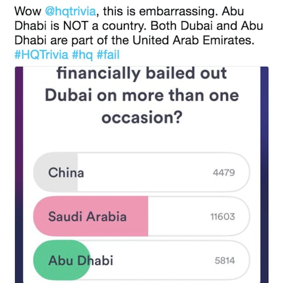 Twitter's Reaction to HQTrivia Calling Abu Dhabi a Country
