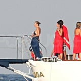 Kate Moss hung out on a yacht.