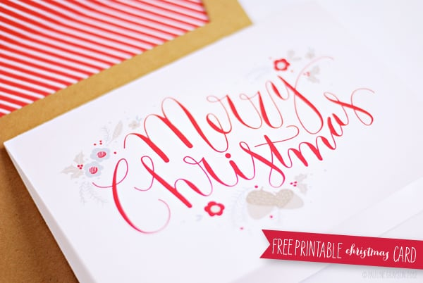 red merry christmas font card