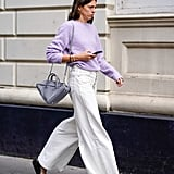 Wear Baggy White Denim With a Sweater in the Color of the Moment