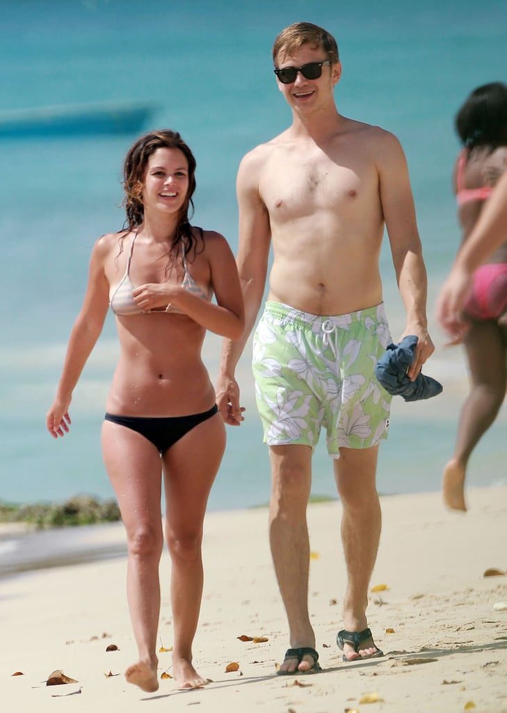 Bikini-clad Rachel Bilson and boyfriend Hayden Christensen took a beach walk during a getaway to Barbados.
