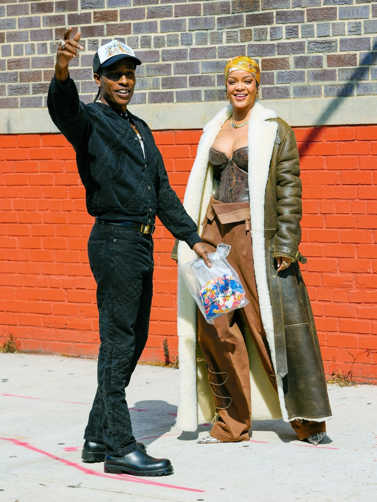 """It looks like Rihanna and A$AP Rocky just took their relationship to the next level: immortalising it in a music video. On 10 July, the couple was spotted filming in the Bronx in New York City, two months after A$AP Rocky officially confirmed their relationship in an interview with GQ. Dressed in a stunning brown snakeskin bustier and a full-length aviator coat, it's no wonder that A$AP Rocky couldn't keep his eyes off of Rihanna. The pair was all smiles as they filmed a few PDA-filled scenes, even taking a moment to wave to the crowd that had gathered. Some of the cutest moments from the shoot include a few playful nudges, an intense hug, and Rihanna lovingly squeezing the other's face.  It's unclear whether they were filming for one of her songs, one of his, or for a collaboration between the two. It wouldn't be the first time they've collaborated as A$AP Rocky appeared on the remix for Rihanna's """"Cockiness"""" in 2012 and in her July 2020 Fenty Skin campaign while she appeared in the music video for his 2013 hit, """"Fashion Killa."""" However, a source did tell Entertainment Tonight on July 9 that although Rihanna is """"very inspired by A$AP,"""" her recent trip to the recording studio was to support him as he was """"working on some new material."""" See more pictures from the adorable shoot ahead.       Related:                                                                                                           Rihanna and A$AP Rocky's Smiley Date Night in the Big Apple Is Giving Us Heart Eyes"""