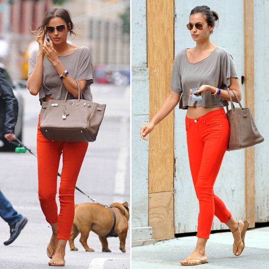 Irina Shayk Shows How To Wear the Cropped Tee and Coloured Jean: Steal her NYC Off-Duty Model Street Style!