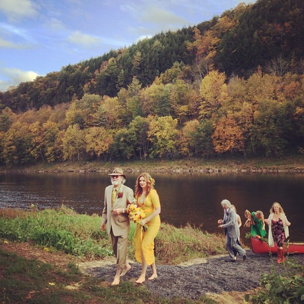 Amber Tamblyn wore a yellow wedding dress.  Source: Instagram user Questlove