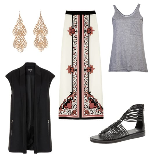 We love the idea of pairing a printed maxi skirt with a statement vest, then sprinkling in snazzy accessories for added interest. Bohemian with a polished twist.  Get the look:  Topshop black vest ($100) Aloha Rag gray pocket tank ($80) Alice by Temperley printed maxi skirt ($490) ASOS gladiator sandals ($76) Lori's Shoes gold chandelier earrings ($19)