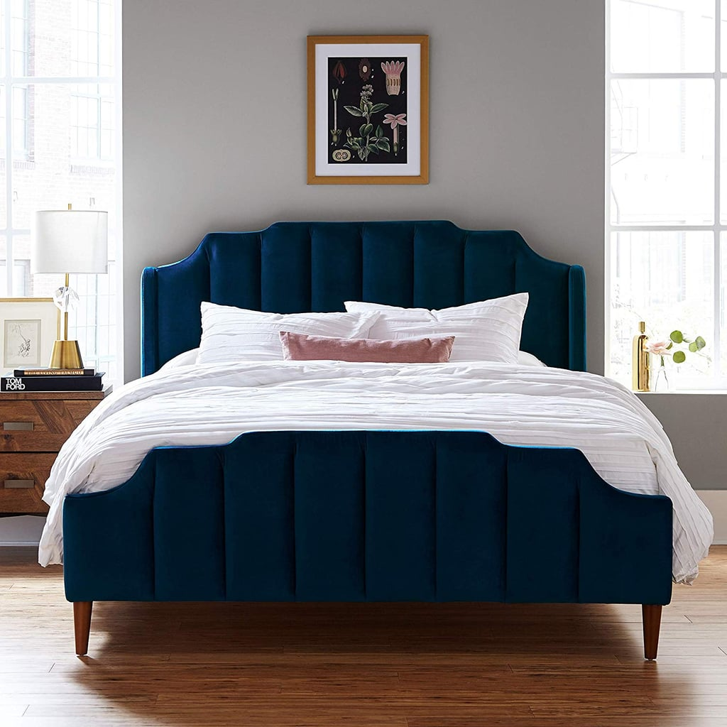 Rivet Gwyneth Mid-Century Velvet Queen Bed