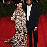 Kim made a serious statement in a floral Givenchy gown at the Met Gala with Kanye in NYC in May 2013.