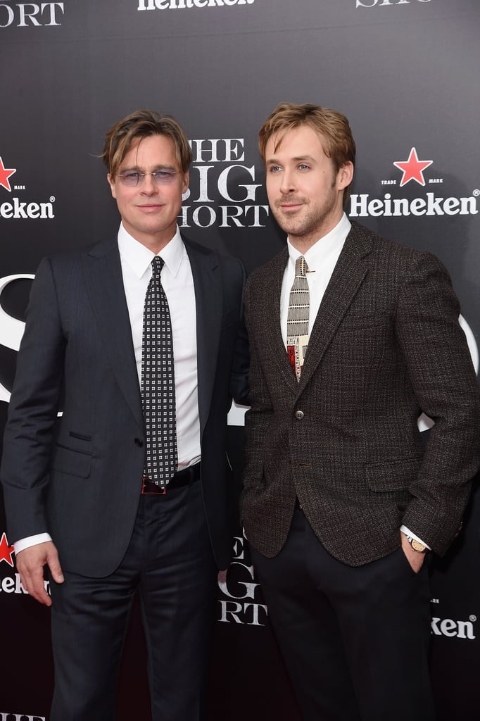 "Brad Pitt and Ryan Gosling were front and center at the premiere of their new film The Big Short in NYC on Monday, looking dapper as always. The handsome actors were joined by their costars Steve Carell and Finn Wittrock, who was accompanied by his lovely wife, Sarah Roberts. Missing from the fun, though, were Max Greenfield and Christian Bale, who popped up at the premiere of the movie during AFI Fest in LA earlier this month.  Brad recently made headlines when he and Angelina sat down for a rare joint interview with Tom Brokaw for NBC's Today and spoke about their working relationship and how Brad handled Angelina's medical procedures. Brad revealed he was in France when he found out about Angelina's health scare, saying, ""I was out in France, and Angie called me and I got straight on a plane to return."" Read on to see the best moments from the night, and then check out the trailer for The Big Short, which hits theaters on Dec. 23."