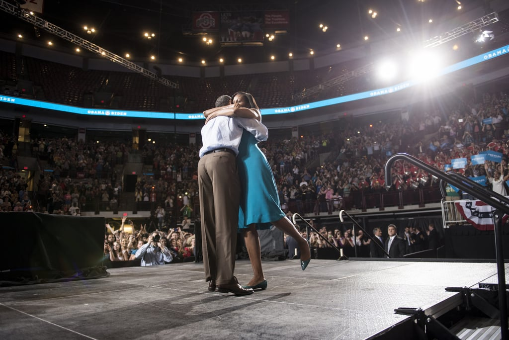 "During a May campaign event in Columbus, OH, Barack and Michelle embraced — romantic ""foot pop"" and everything."