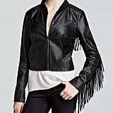 Aqua Faux Leather Fringe Jacket