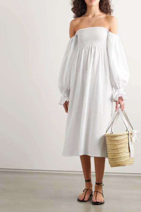 Sleeper Atlanta Off-the-Shoulder Shirred Linen Midi Dress ($414.44)