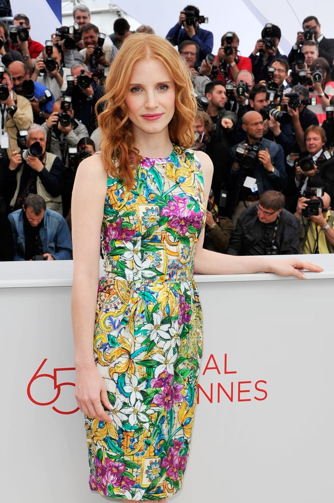 We love this pretty Dolce & Gabanna floral print Jessica Chastain chose for her second Madagascar 3 photocall.