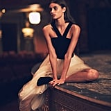 Taylor Hill wearing Free People's Velvet Bodice Gown ($350).
