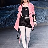 Barbara Palvin Wore a Leather Skirt and a Pink Waterfall Jacket
