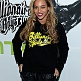Beyoncé Knowles wore a Billionaire Girls Club hoodie to the event.