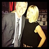 """Julianne Hough returned to her """"old stomping ground"""" of Dancing With the Stars and snapped a picture with host Tom Bergeron. Source: Instagram user juleshough"""