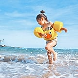 Do not teach your child to swim with floaties, rafts, or other inflatables.
