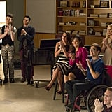 The cast unites to watch Will and Sam perform in the old glee club classroom.
