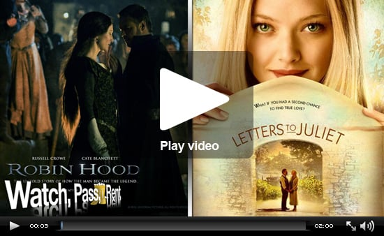 Video Movie Reviews for Robin Hood and Letters to Juliet