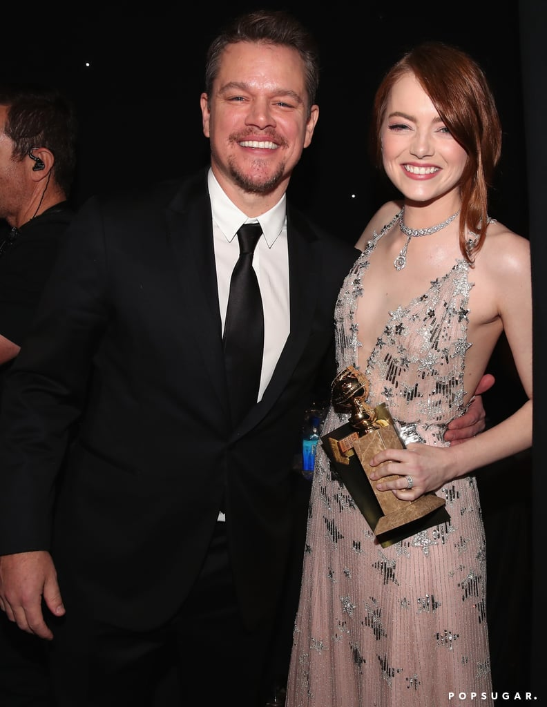 Matt Damon was all smiles with Emma Stone after she won her best actress award for La La Land.