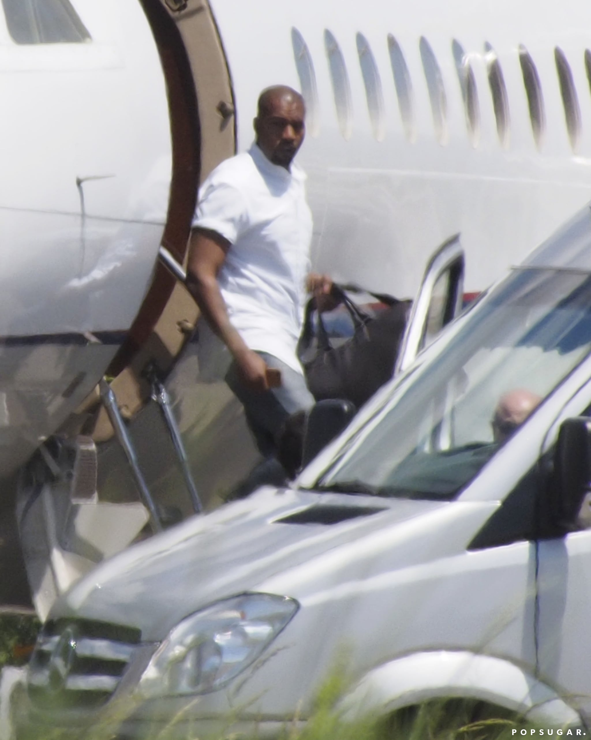Kanye West landed in Florence in his own jet.