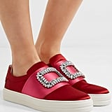 Roger Vivier Sneaky Viv Crystal Embellished Two Tone Satin Slip On Sneakers