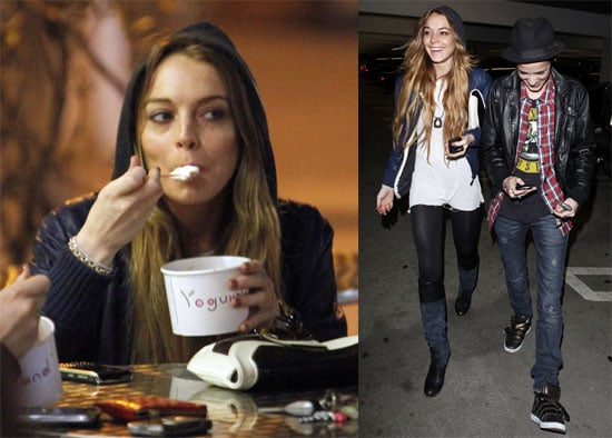 Photos of Lindsay Lohan and Samantha Ronson Eating Frozen Yogurt in LA