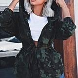 SheIn Camo-Print Hooded Wrap Jacket